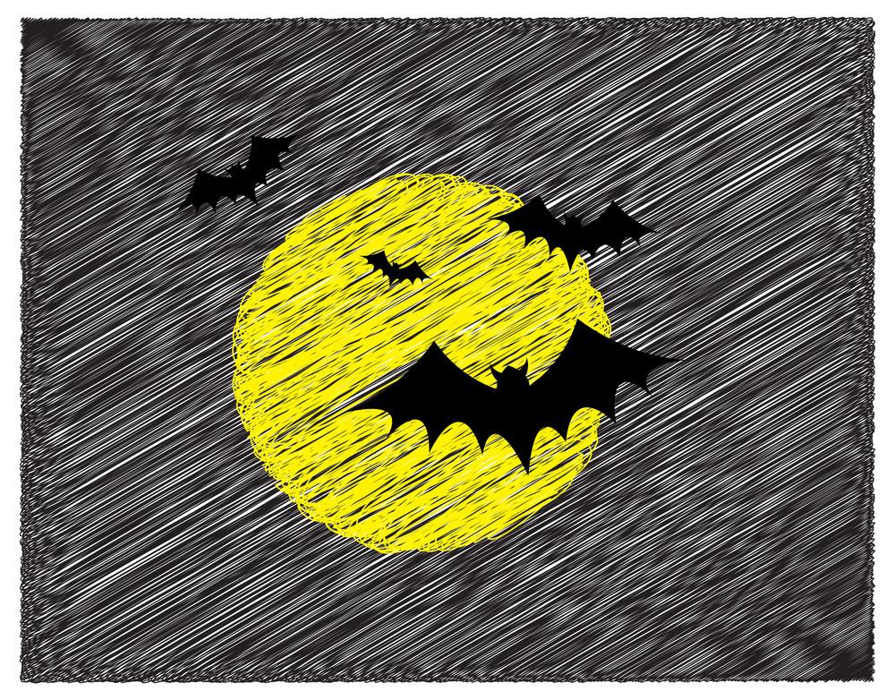 Scribble Art Of Flying Bats
