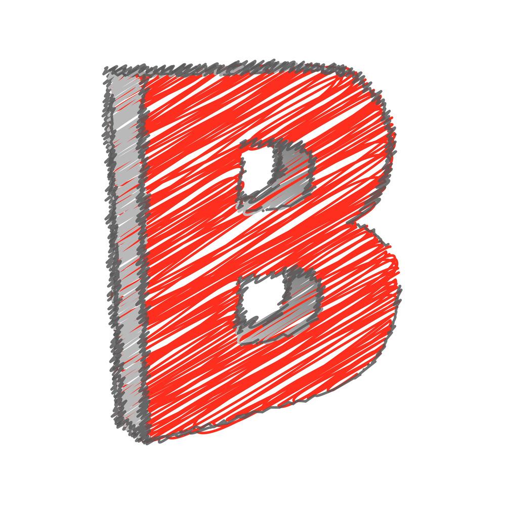 Scribble B Alphabet Vector