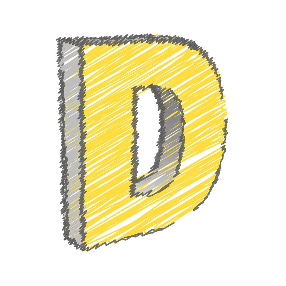 Scribble D Alphabet Vector