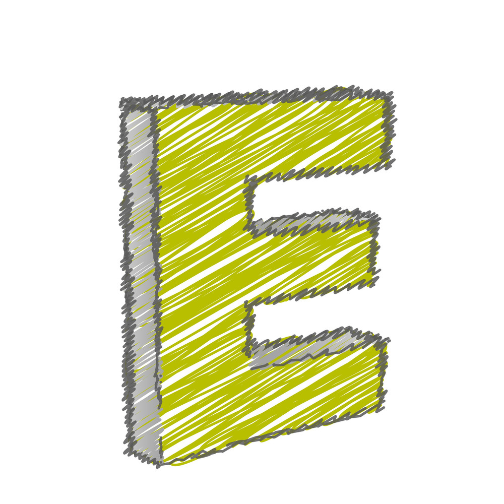 Scribble E Alphabet Vector