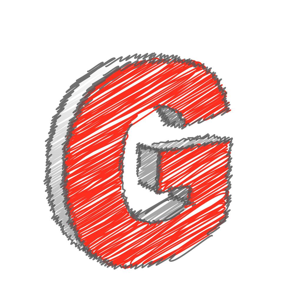 Scribble G Alphabet Vector