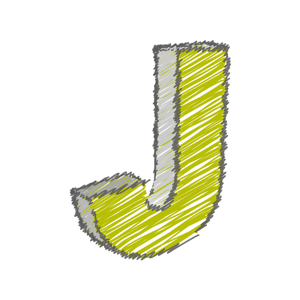 Scribble J Alphabet Vector