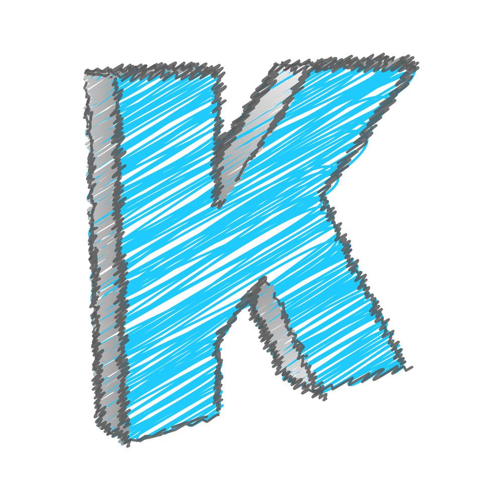 Scribble K Alphabet Vector