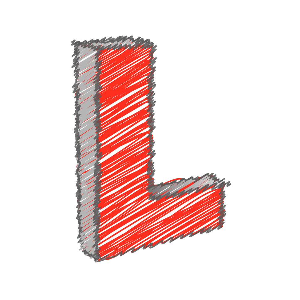 Scribble L Alphabet Vector