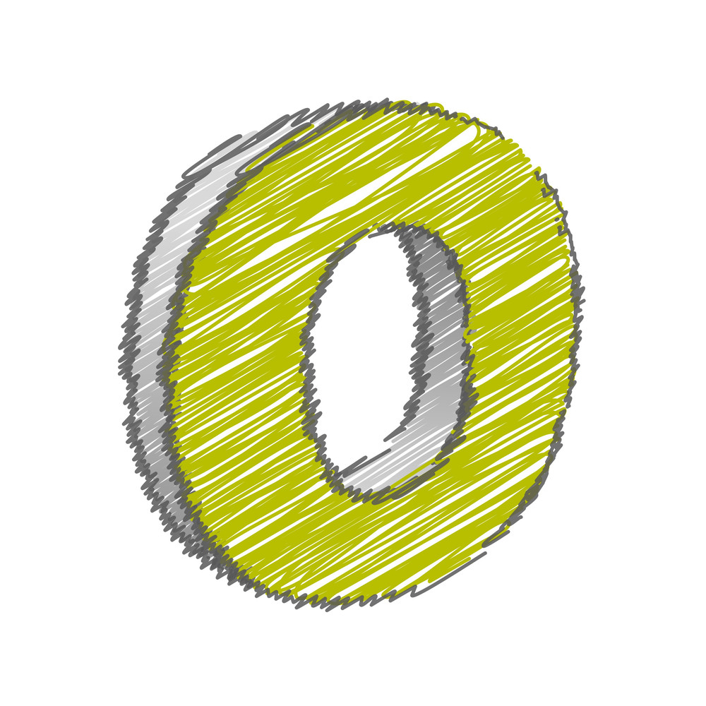 Scribble O Alphabet Vector