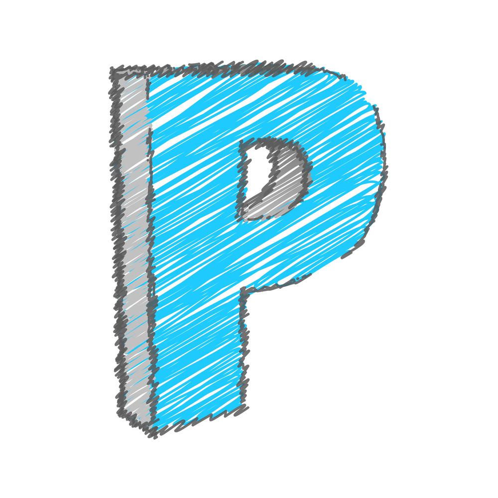 Scribble P Alphabet Vector
