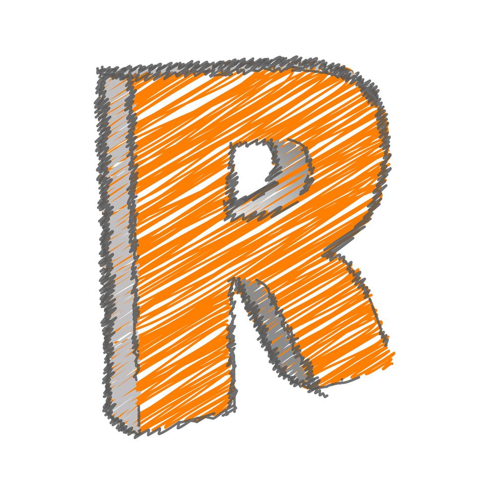 Scribble R Alphabet Vector