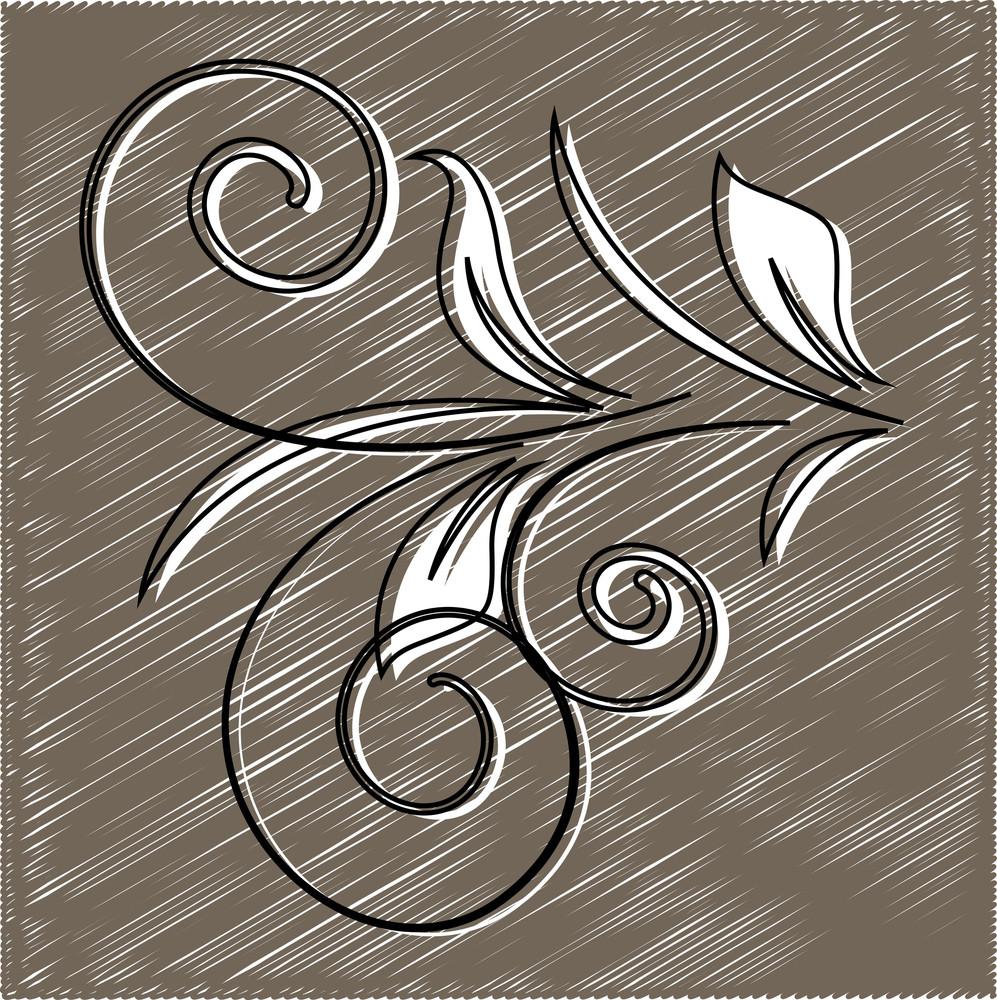 Scribble Retro Flourish Element Background
