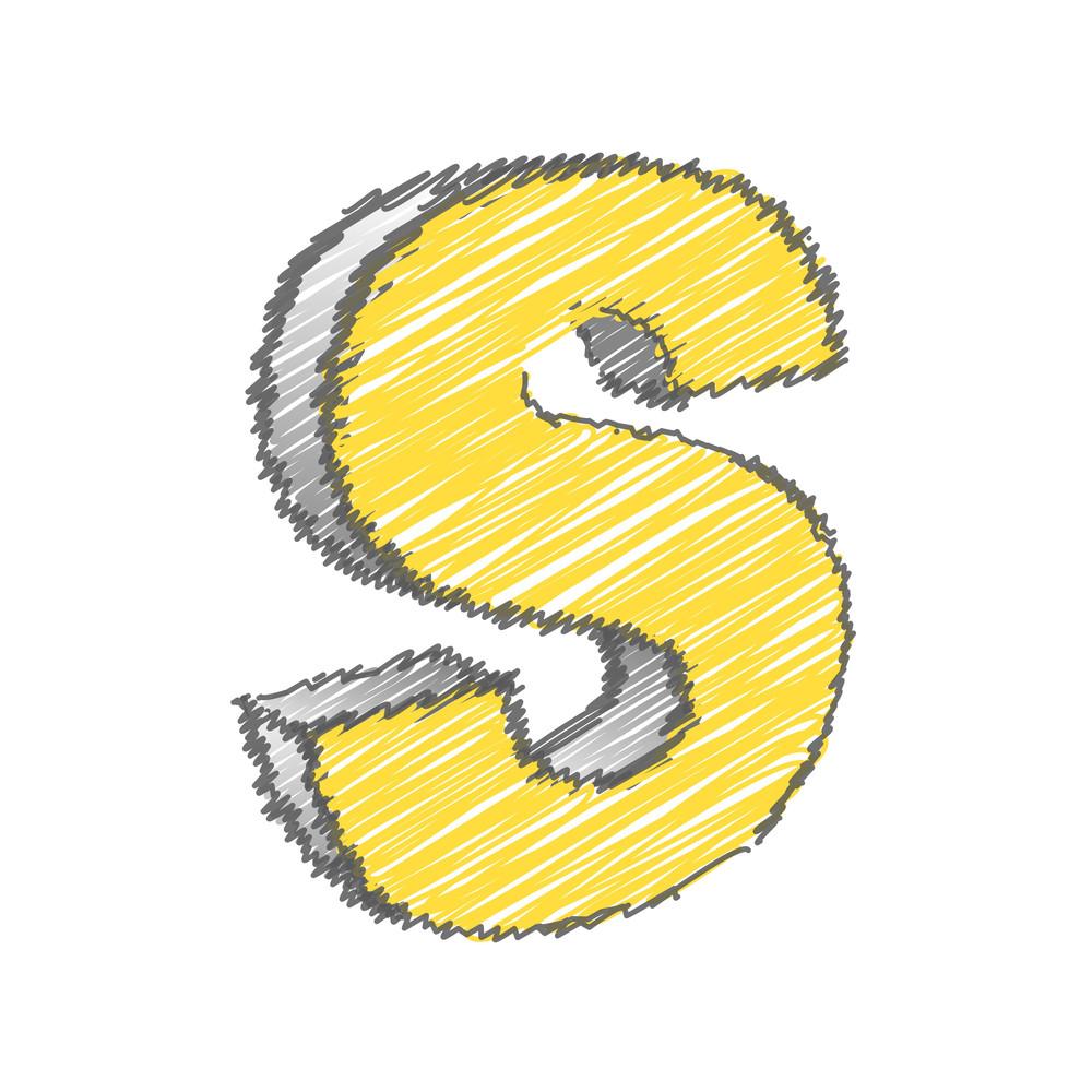 Scribble S Alphabet Vector