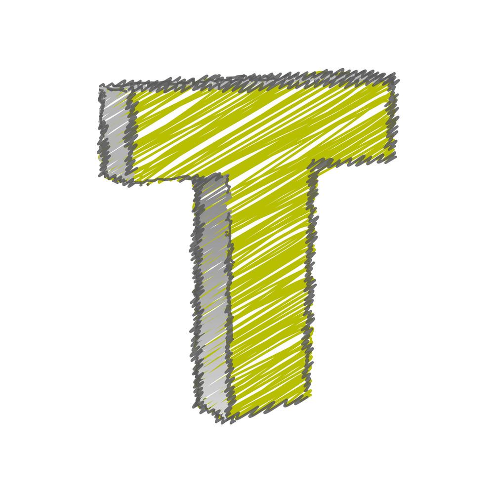 Scribble T Alphabet Vector