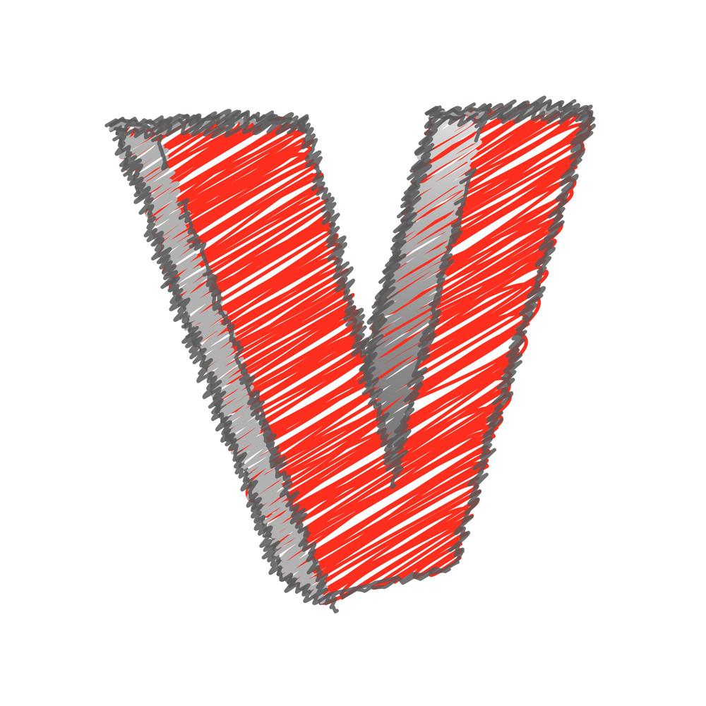 Scribble V Alphabet Vector