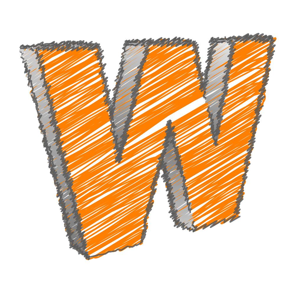 Scribble W Alphabet Vector