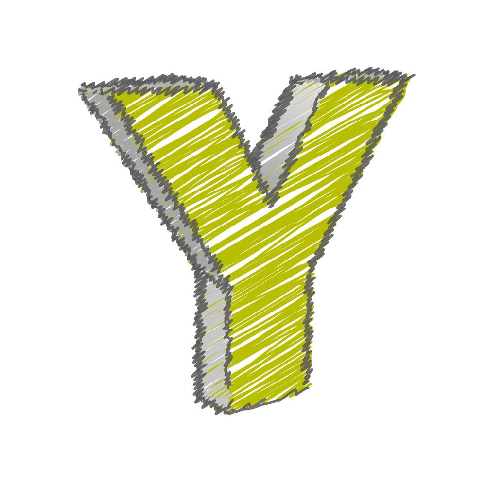 Scribble Y Alphabet Vector
