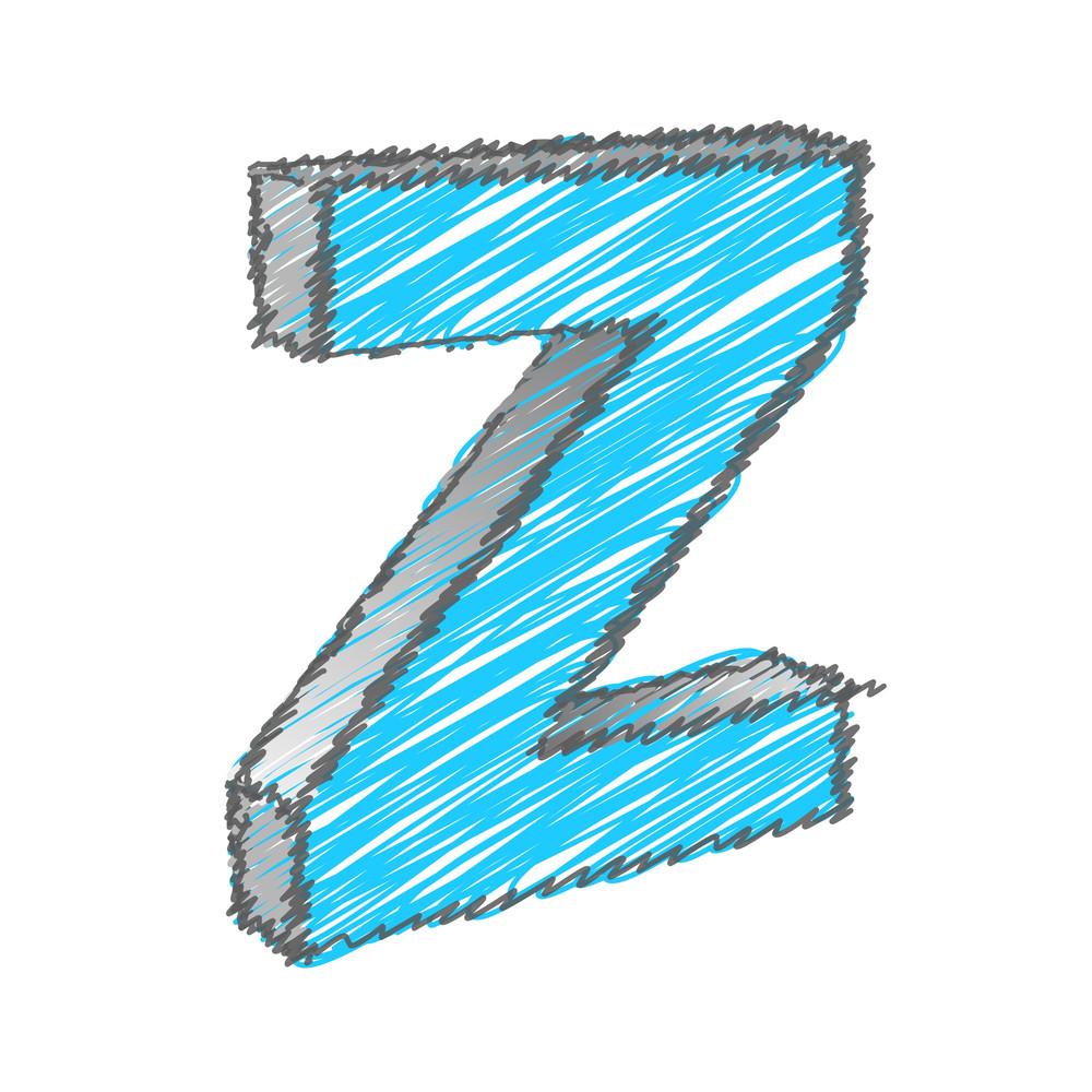 Scribble Z Alphabet Vector