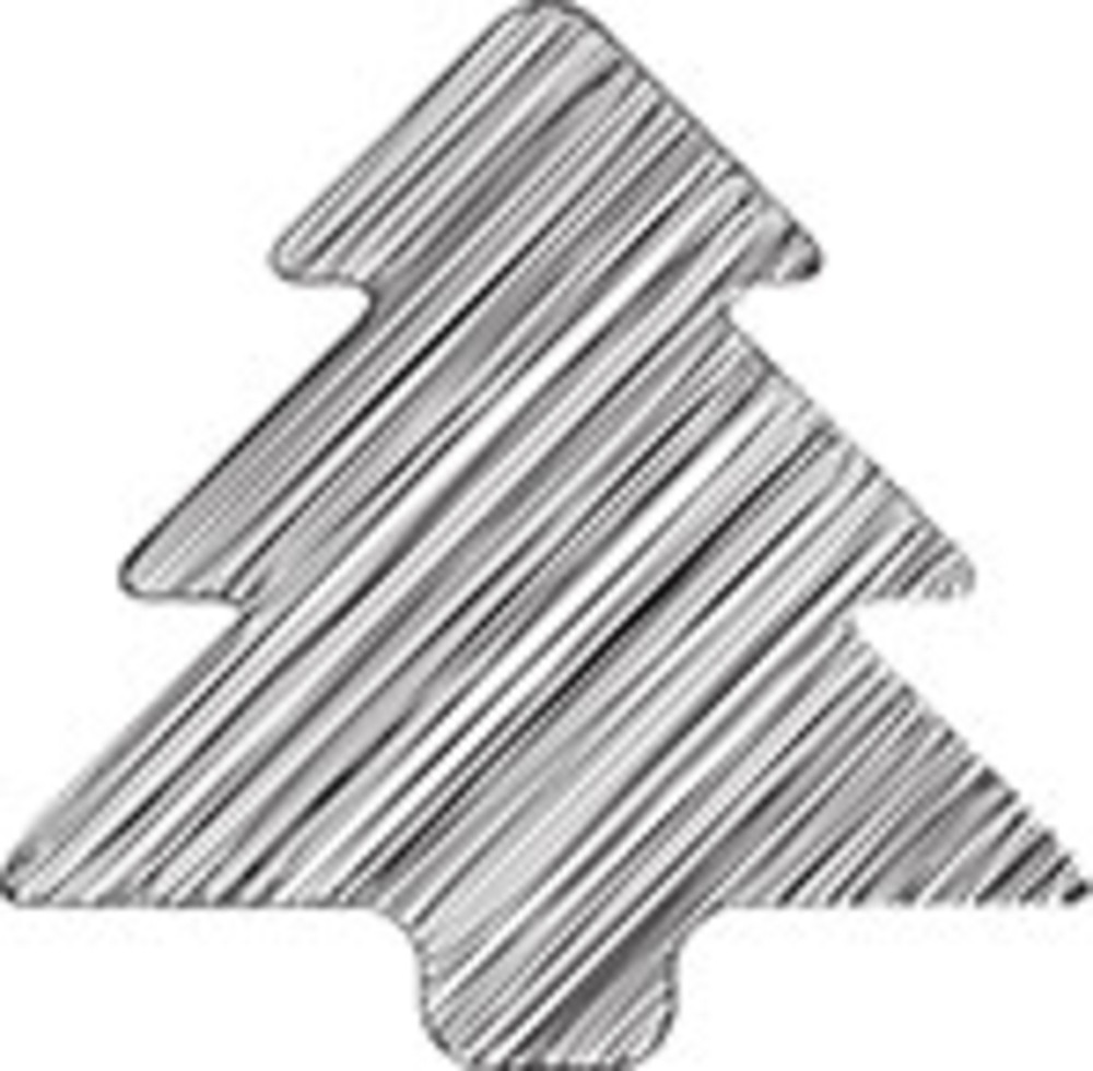 Scribbled Pine Tree Icon On White Background