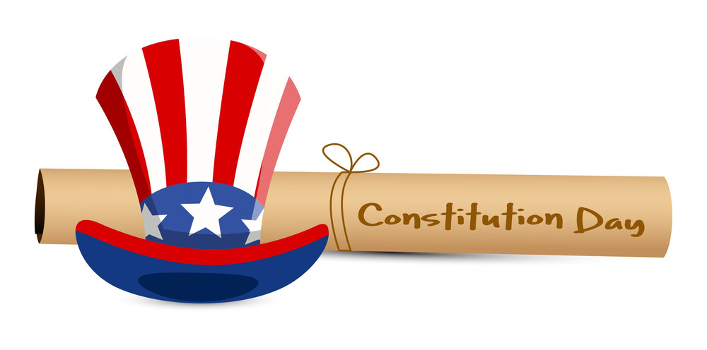 Scroll And Uncle Sam Hat  Constitution Day Vector Illustration