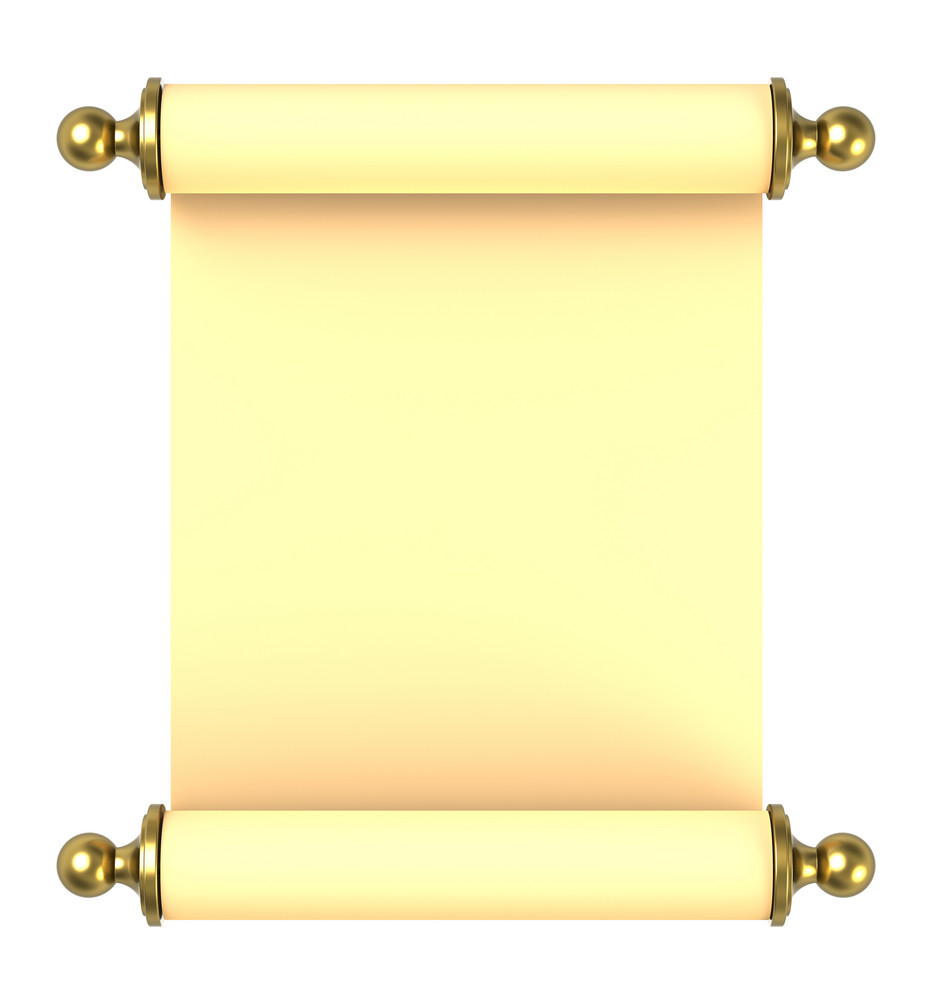 Scroll Paper With Golden Handles Over White.