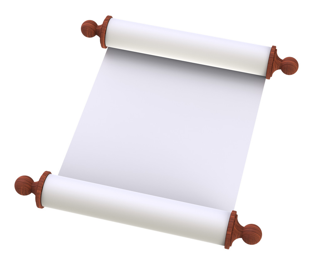 Scroll Paper With Wooden Handles Over White
