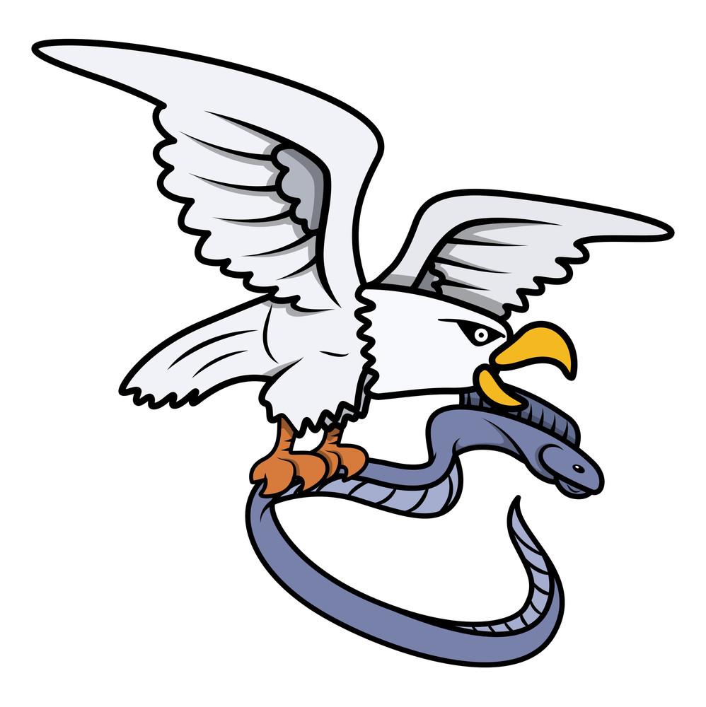 Sea Eagle Caught Eel Fish - Vector Cartoon Illustration