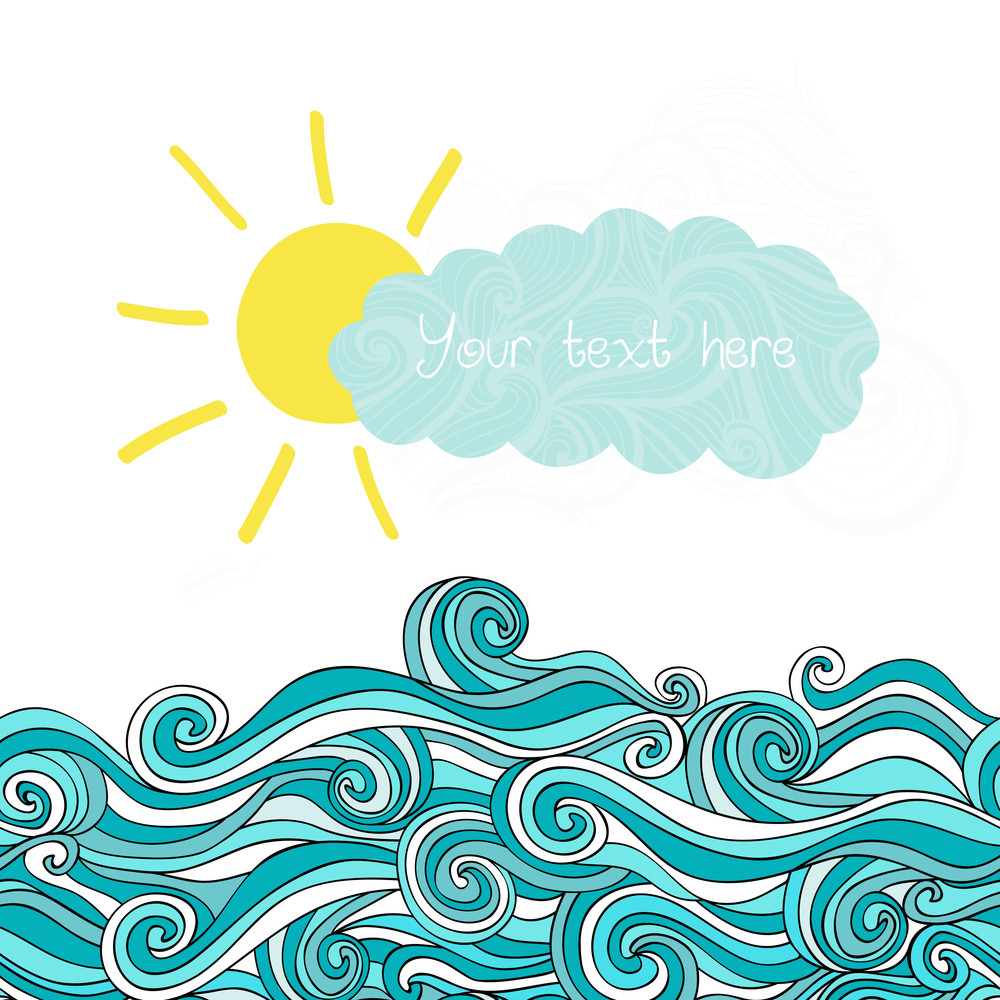 Sea Illustration With Sun And Cloud