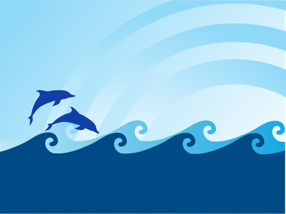 Sea Wave And Dolphin On Blue Background