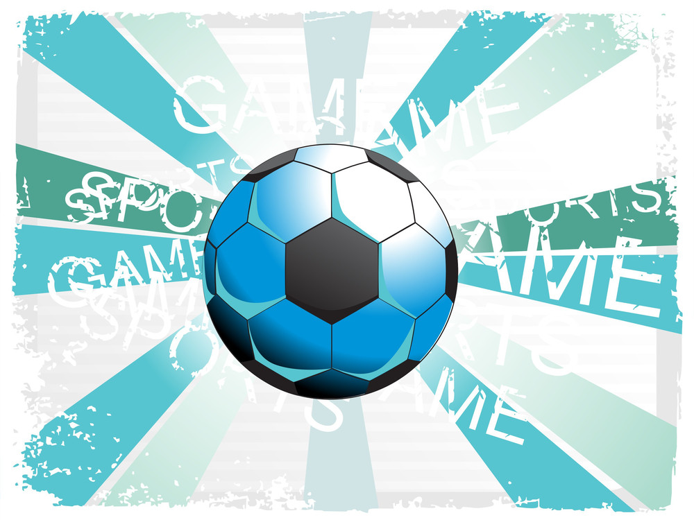 Seagreen Rays Background With Blue Soccer