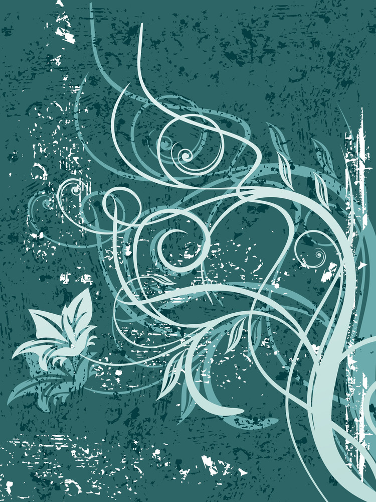 Seagreen Texture Background With Floral