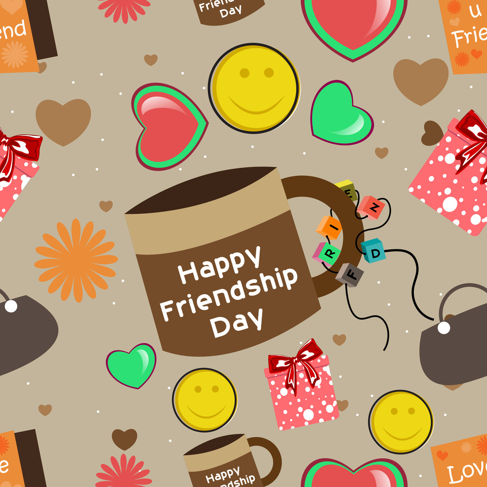 Seamless Background For Happy Friendship Day.