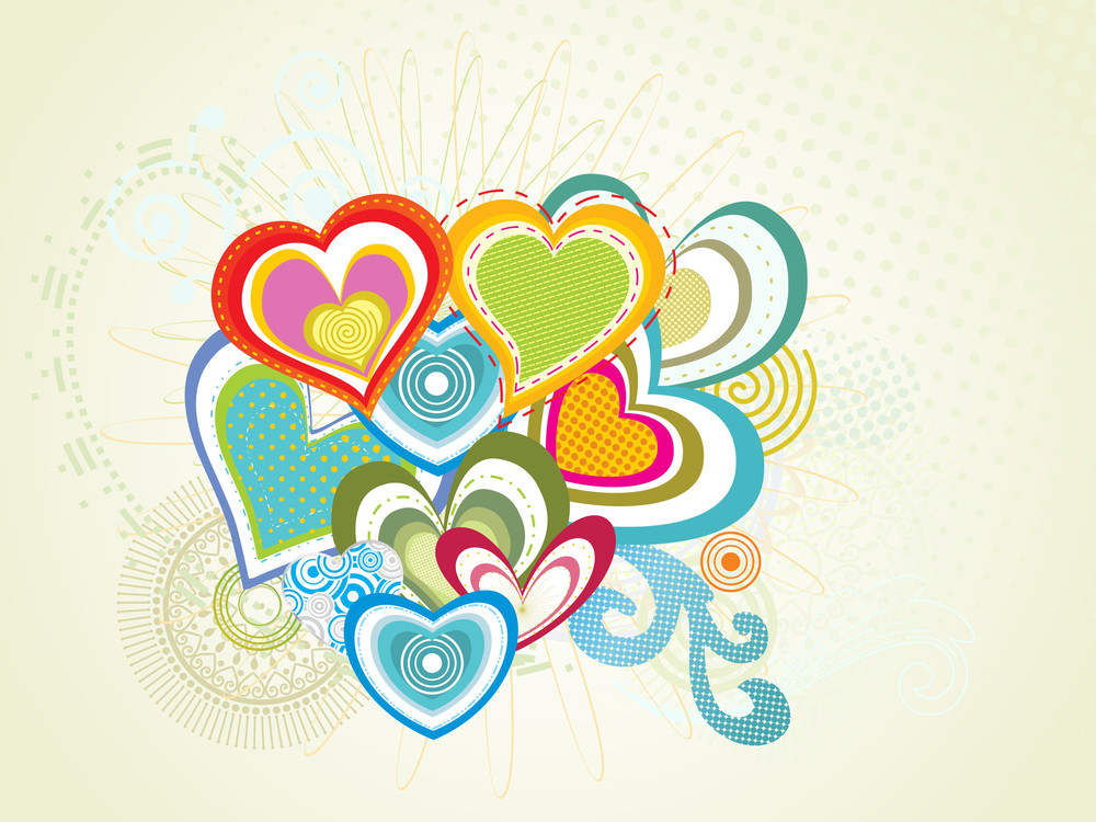 Seamless Background With Colorful Hearts
