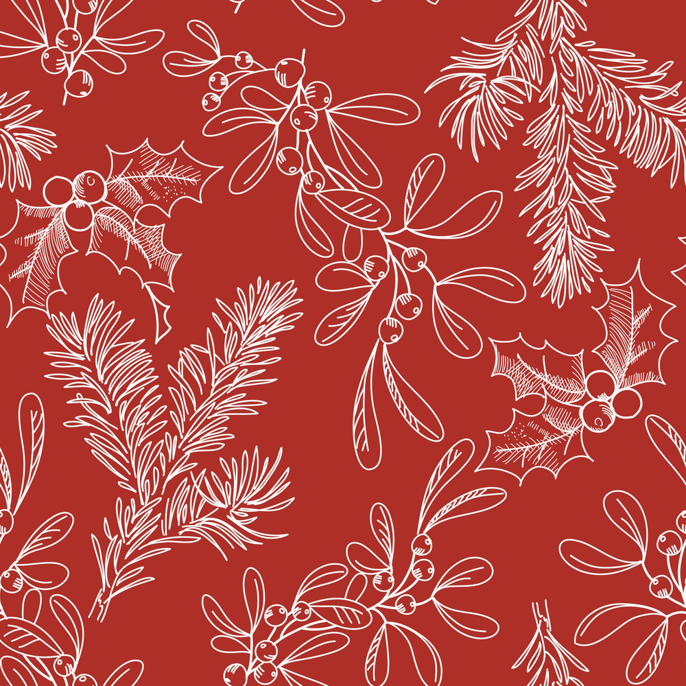 Seamless Background With Fir Misletow And Holly