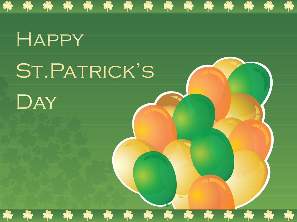 Seamless Clover Design Green Background With Balloon 17 March