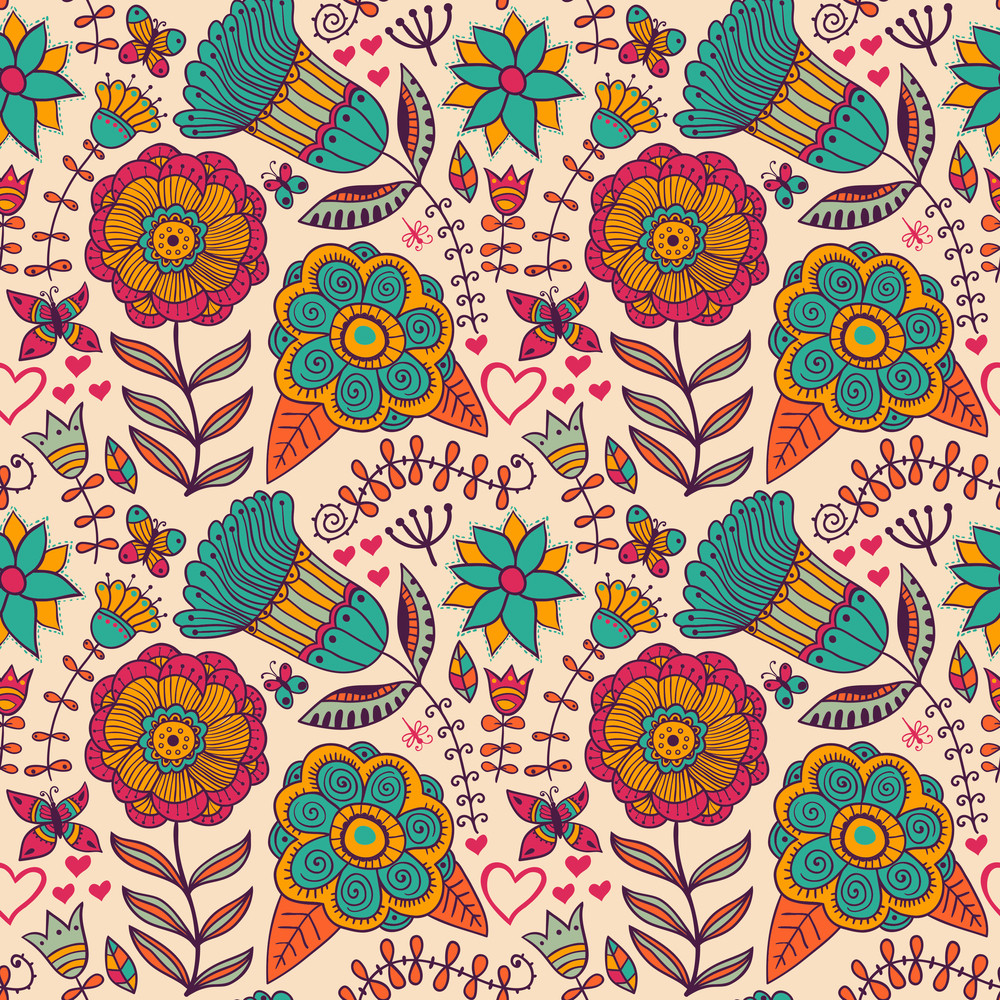 Seamless Floral Background. Copy That Square To The Side And You'll Get Seamlessly Tiling Pattern Which Gives The Resulting Image The Ability To Be Repeated Or Tiled Without Visible Seams.