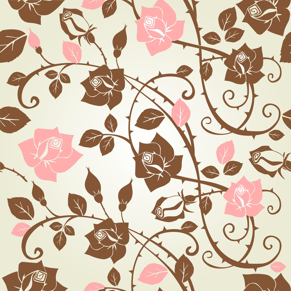 Seamless Floral Rose Pattern-