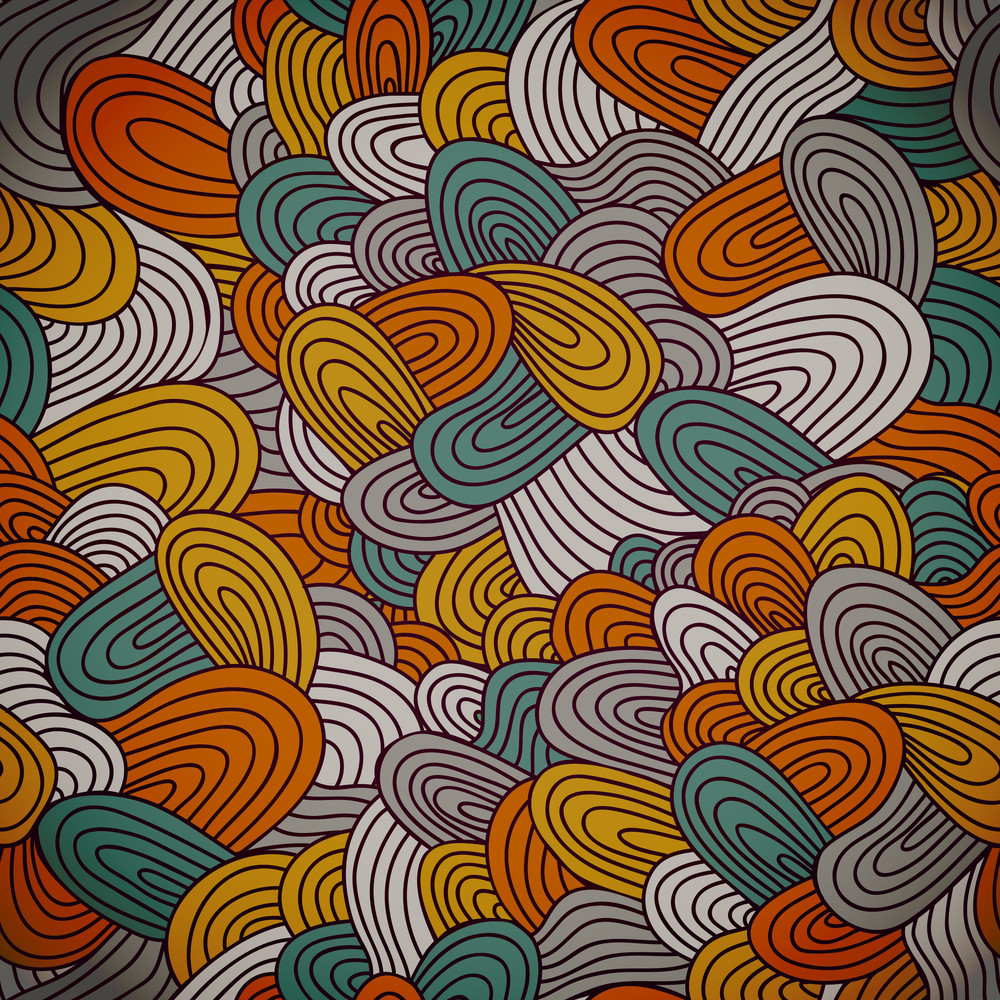 Seamless Hand-drawn Abstract Pattern. Endless Texture In Warm Colors.