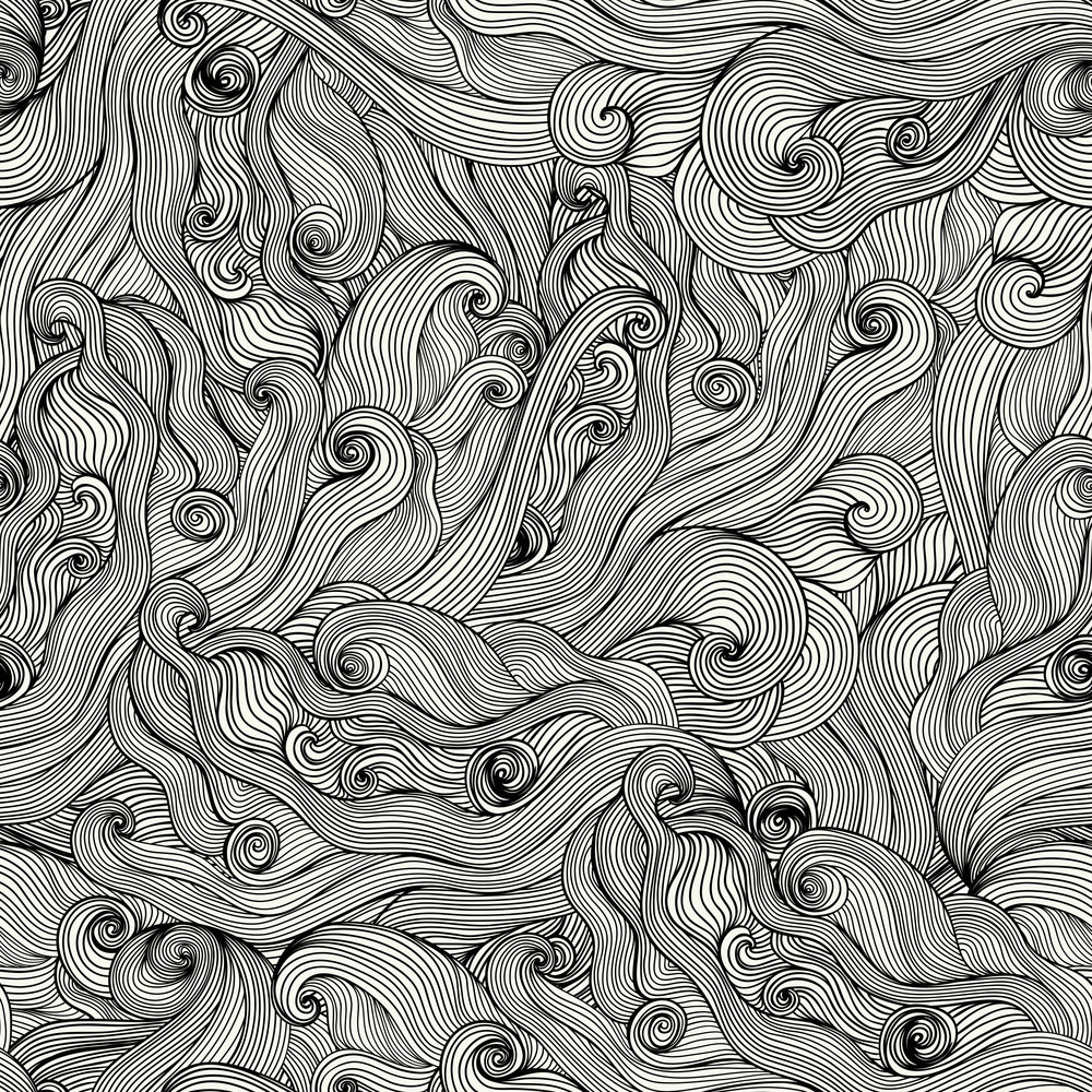 Seamless Hand-drawn Waves Texture.copy That Square To The Side And You'll Get Seamlessly Tiling Pattern Which Gives The Resulting Image The Ability To Be Repeated Or Tiled Without Visible Seams.