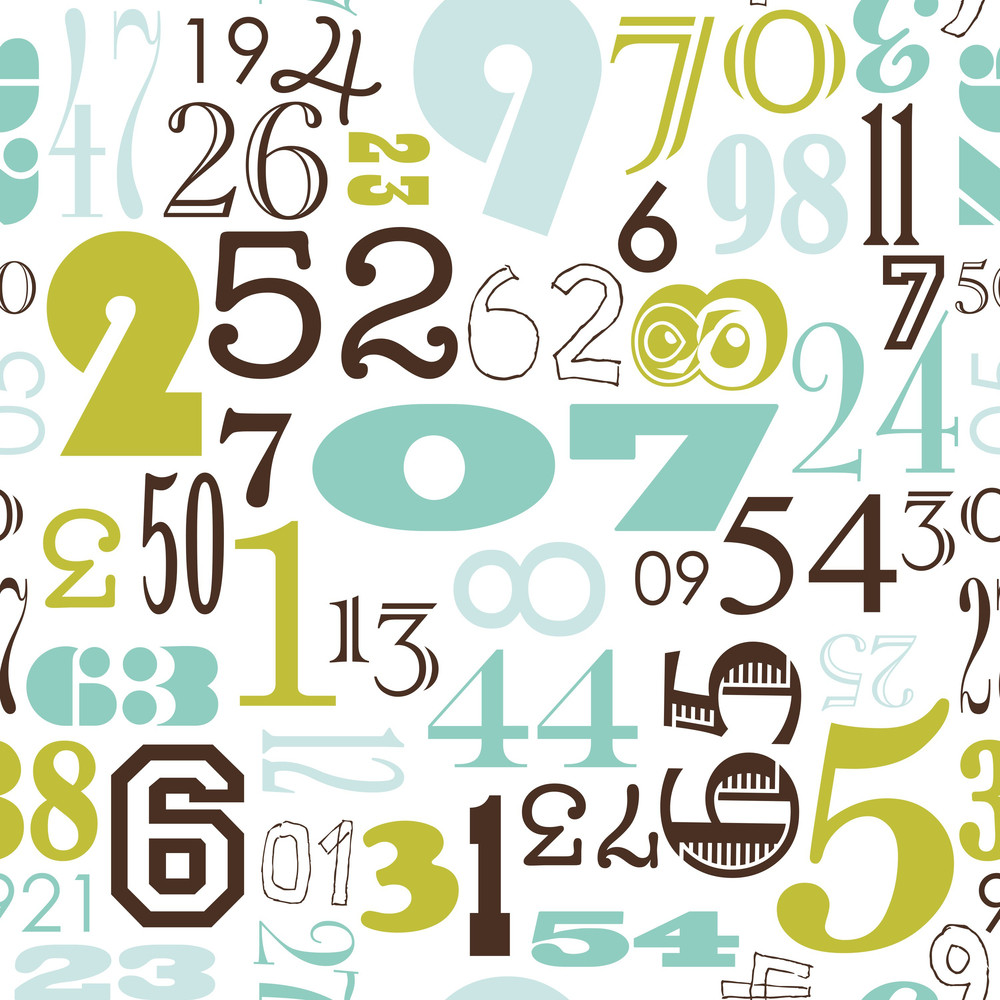 Seamless Numbers Background In Retro Vintage Style Royalty-Free