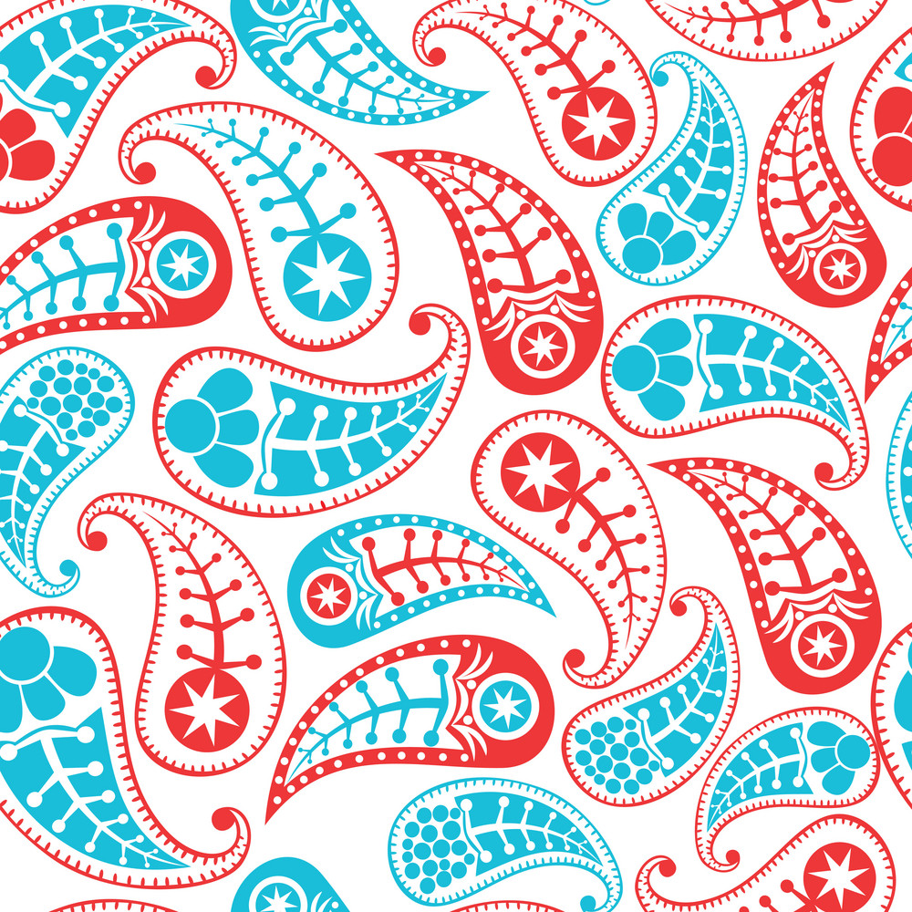 Seamless Paisley Texture For Your Design. Endless Pattern With Paisley.