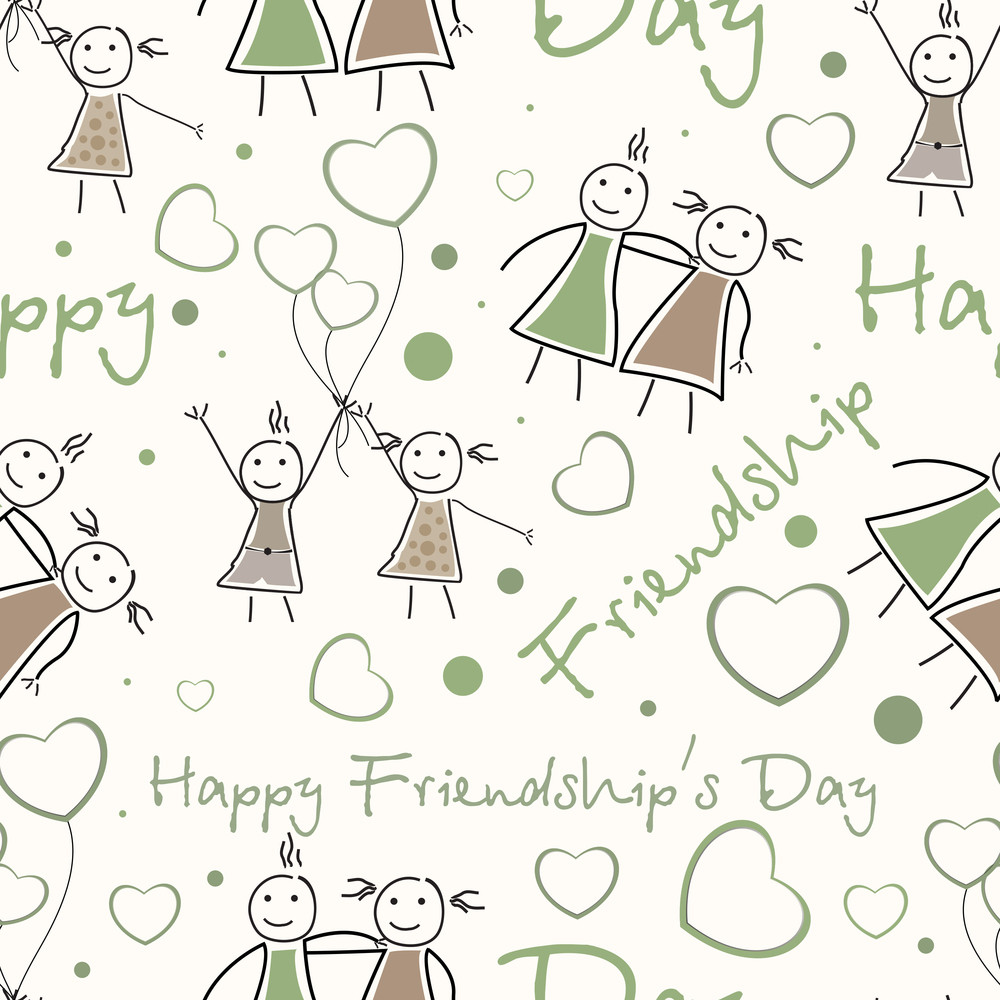 Seamless Pattern Background For Happy Friendship Day.