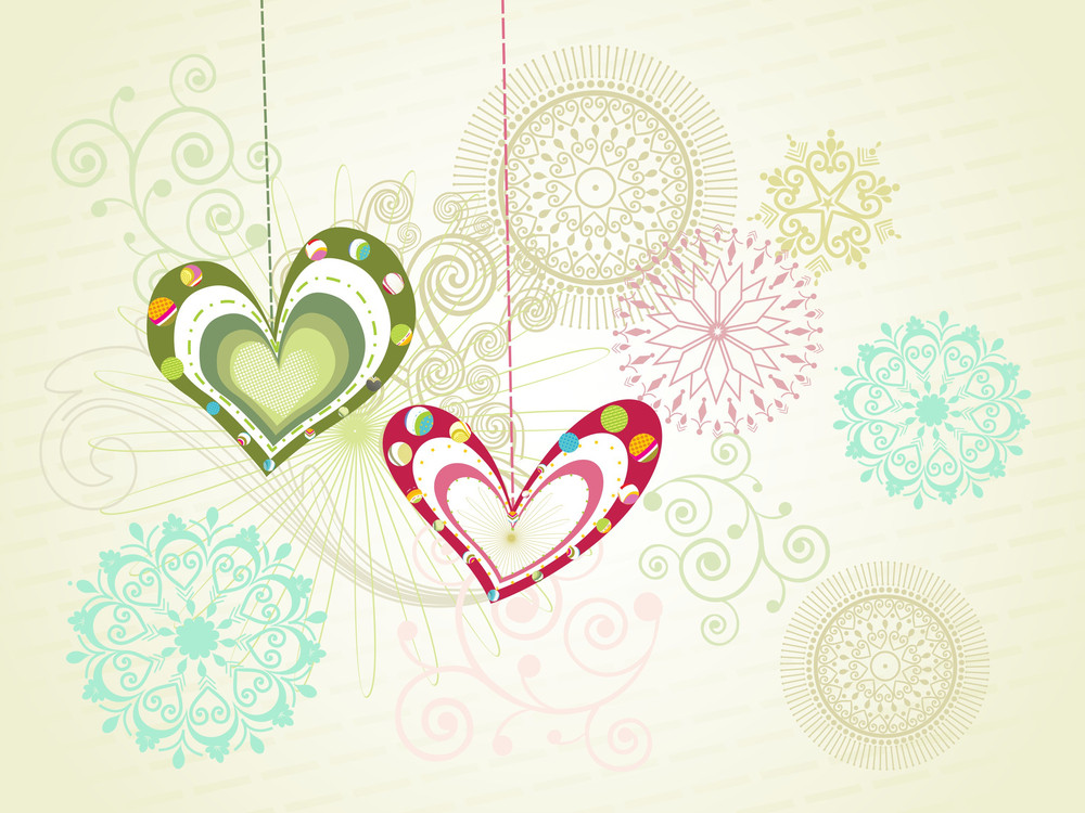 Seamless Pattern Background With Hanging Heart