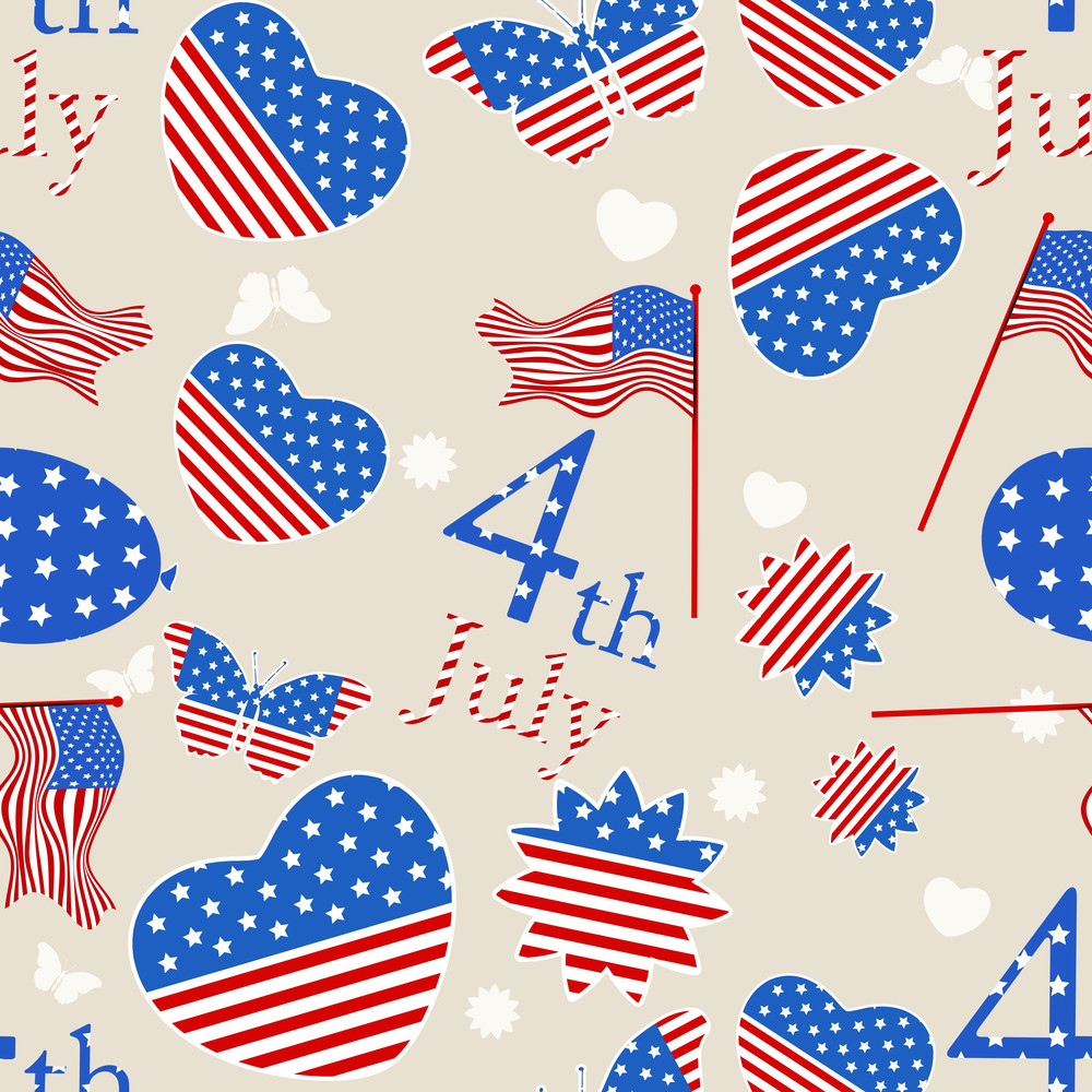 Seamless Pattern For American Independence Day 4th Of July