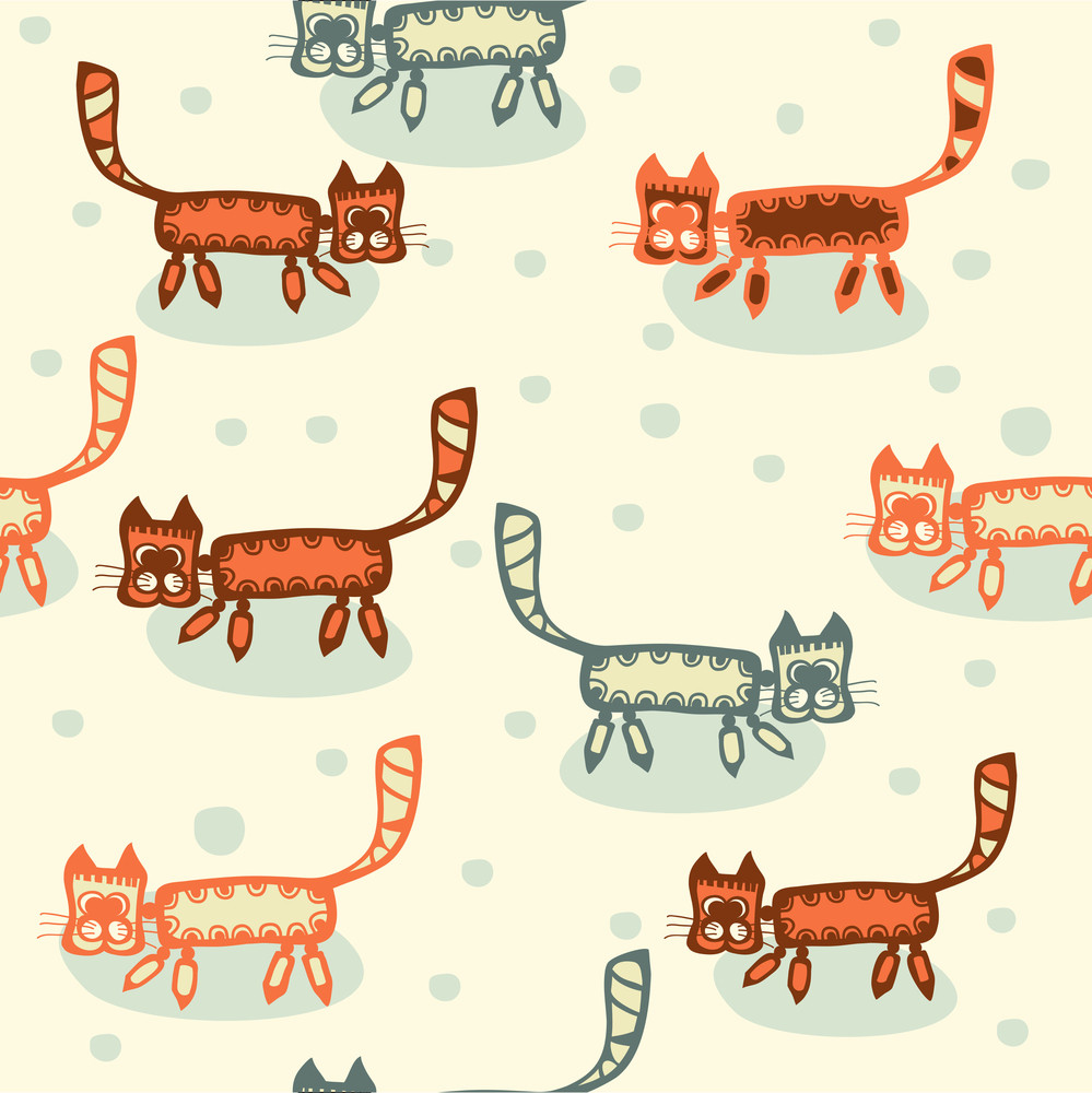 Seamless Pattern With Cartoon Cats.