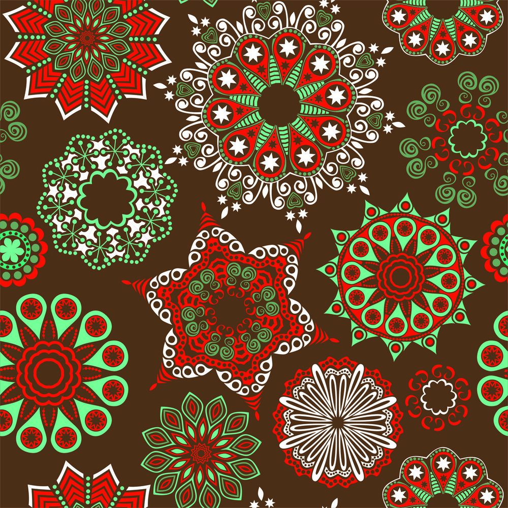 Seamless Pattern With Ornate Flowers