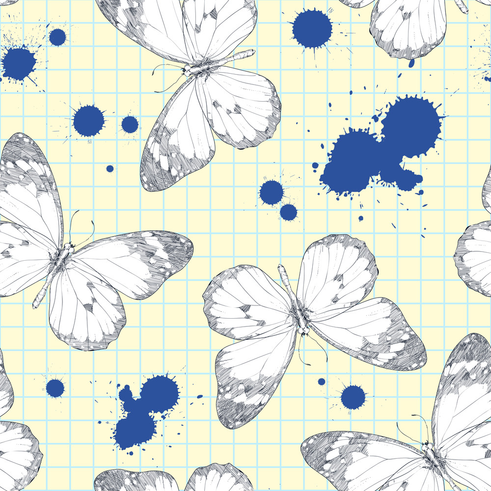 Seamless Pattern With Realistic Hand-draw Of A Monarch Butterfly And Blot In A Writing-book.