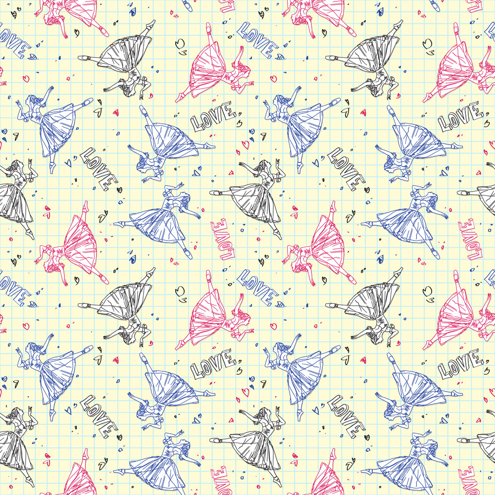 Seamless Pattern With Sketch Ballerina In A Writing-book. Vector Illustrator.