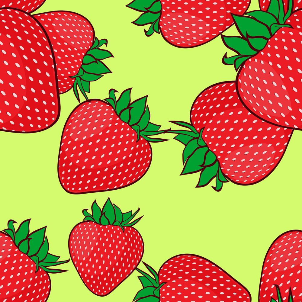 Seamless Pattern With Strawberries. Vector Illusrtation