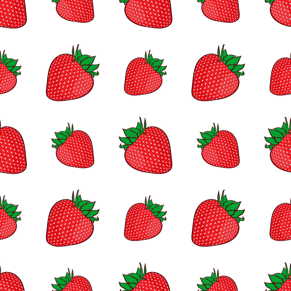 Seamless Pattern With Strawberries. Vector Illusrtation