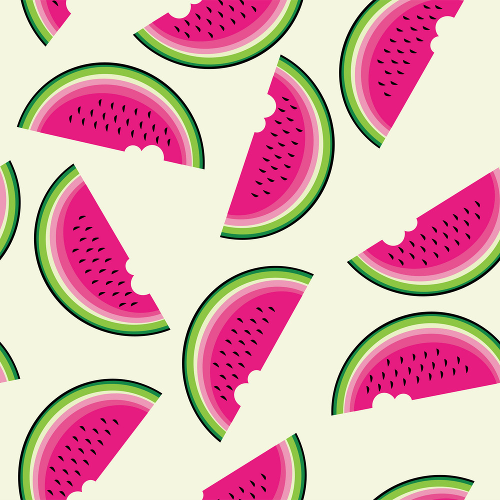 Seamless Pattern With Watermelon.