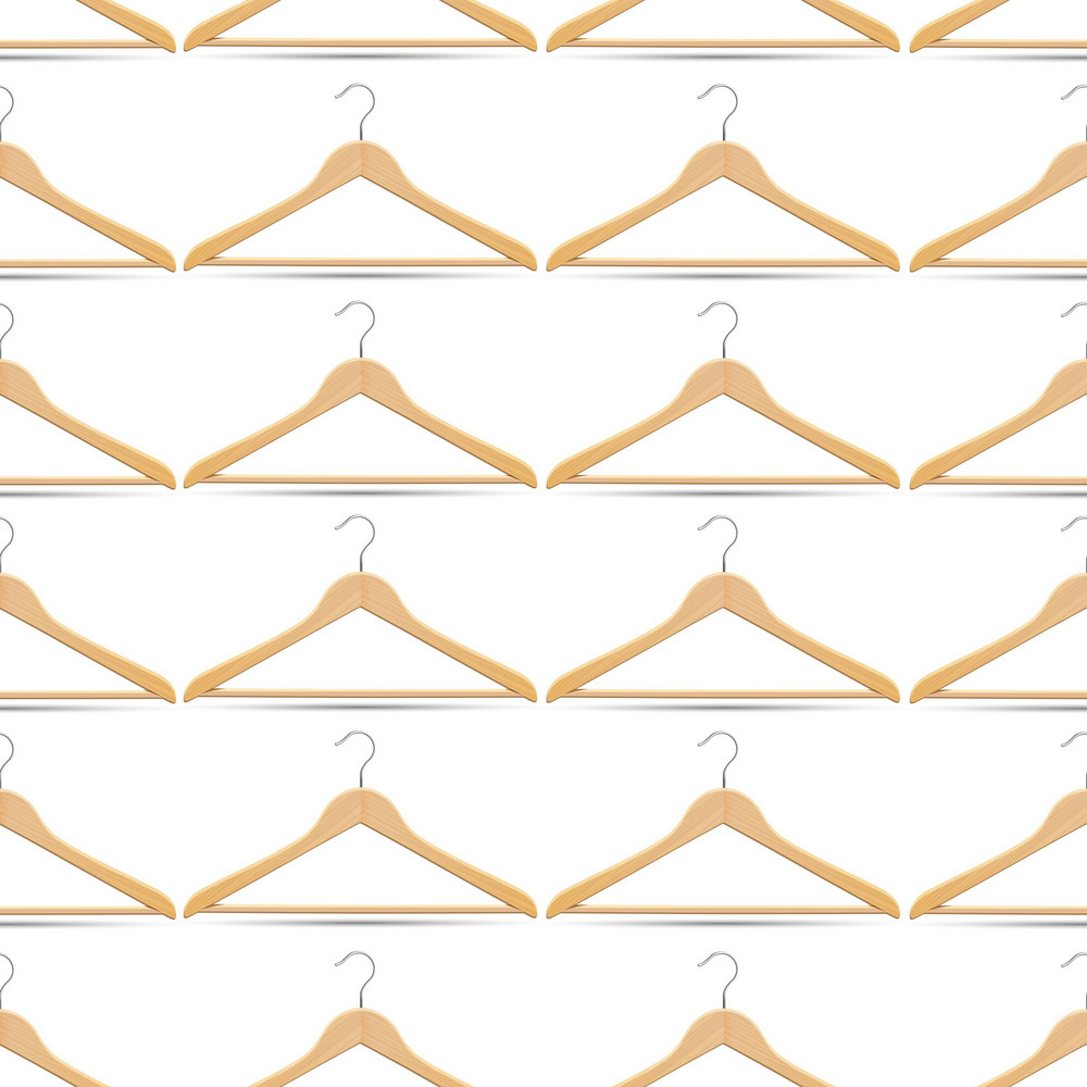 Seamless Pattern With Wooden Hangers