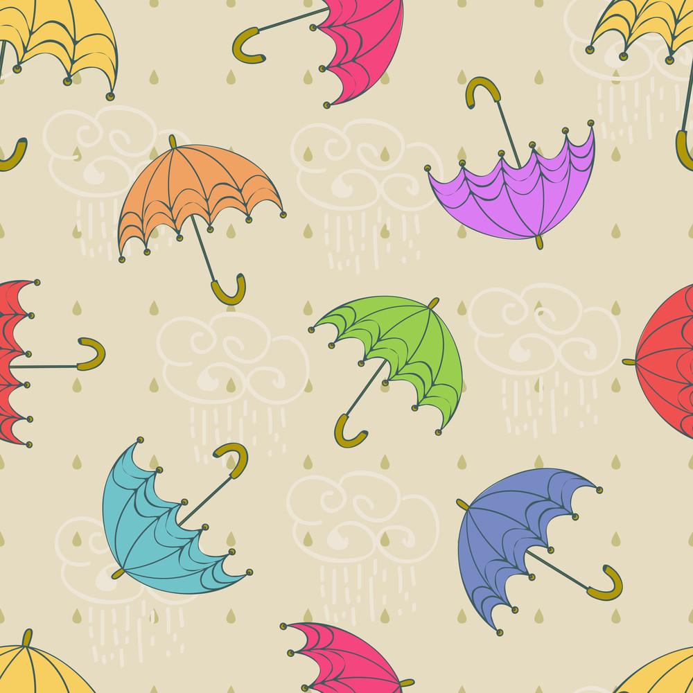 Seamless Rainy Season Pattern With Umbrellas