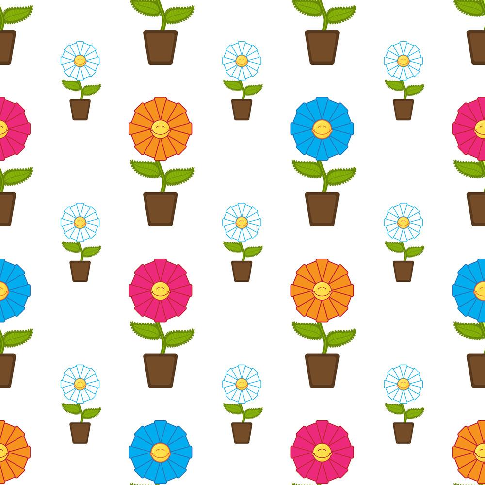Seamless Texture With Cartoon Flowers. Vector Illustration.